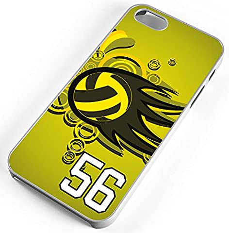 iPhone Case Fits iPhone 6s 6 Volleyball Spiketown Bouncetown Any Custom Jersey Number 56 White (Rubber Spike Phone Case)