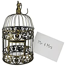 "Just Artifacts ""The Elizabeth"" Antique Gold Metal 14""H Decorative Birdcage Card Holder - Decorative Card and Candle Holders for Weddings, Parties, and Life Celebrations!"