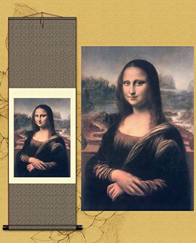 Painting Smile Mona Lisa - Sunmir (TM Silk Scroll Painting Mona Lisa Smile Famous Paintings