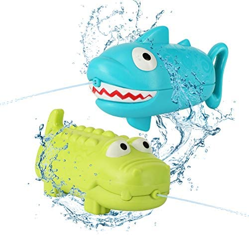AKEROCK Bath Toys for Toddlers, 2 Squirt Water Gun (Shape of Shark & Crocodile), Bathtub Toys for Toddlers, Gifts for Baby Girls or Boys