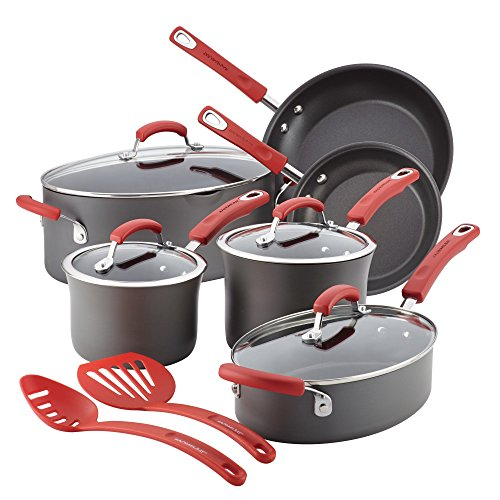 Rachael Ray Hard-Anodized Nonstick 12 Piece Cookware Set, Gray With Red Handles