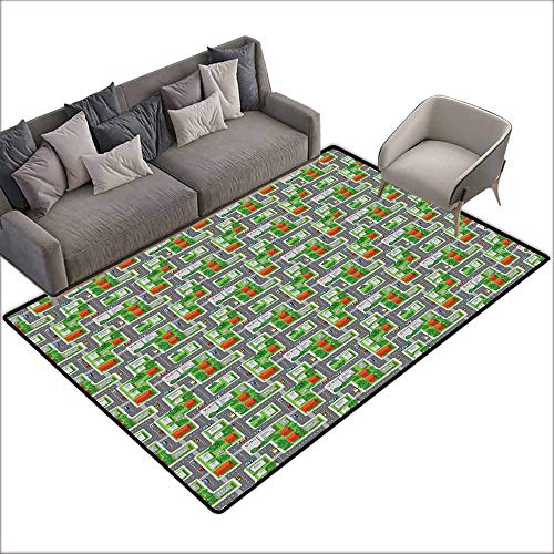 Door Rug Indoors Kids Car Race Track Roadway Activity Suburb View with Houses Gardens and Trees Cartoon Country Home Decor W6'7 x L9'10 Multicolor