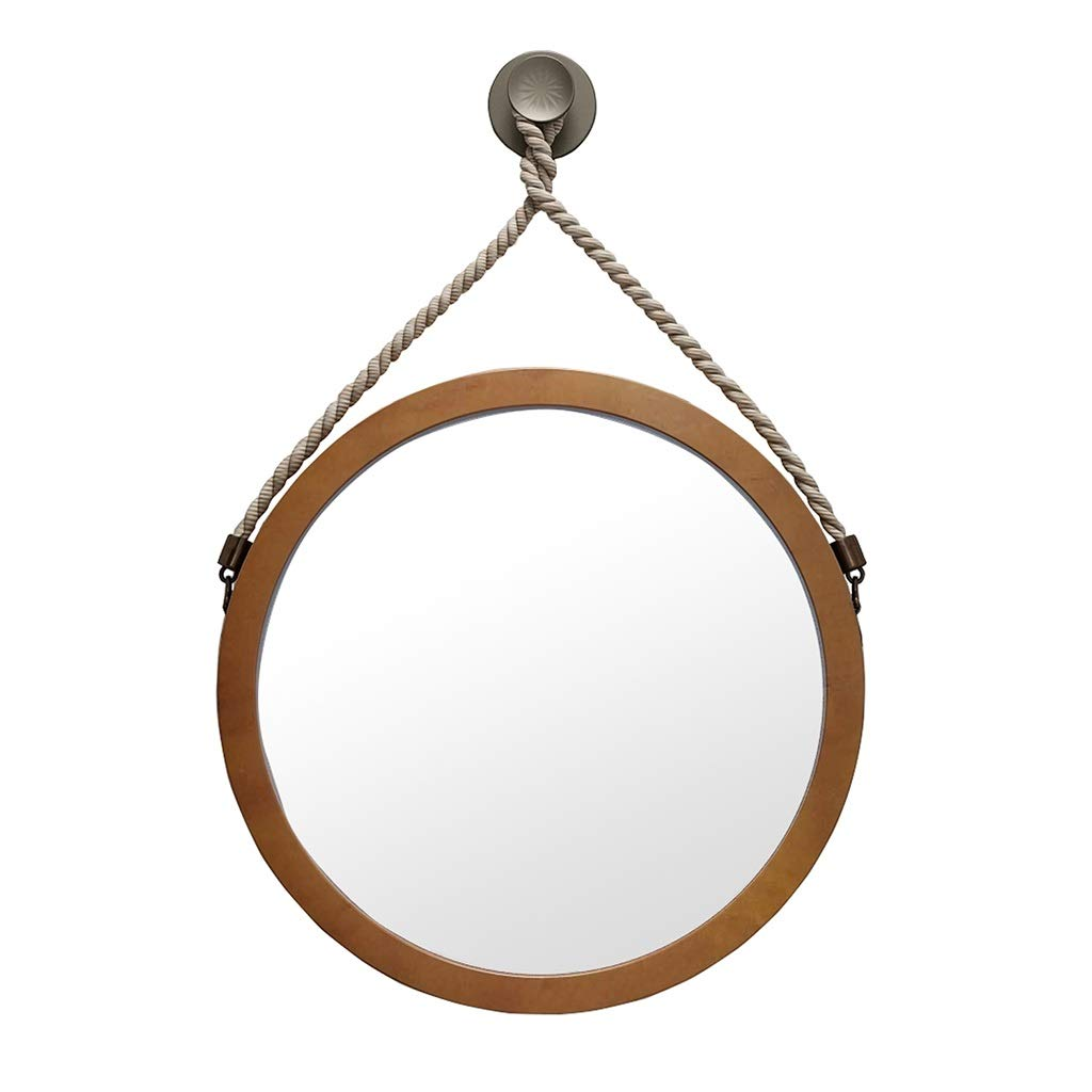 Dark color 60CM Bathroom Round Mirror Wall-Mounted Wooden Mirrors Living Room Decorated Mural Mirror Retro Design 1 1 with Hemp Rope Hanging (color   Light color, Size   60CM)