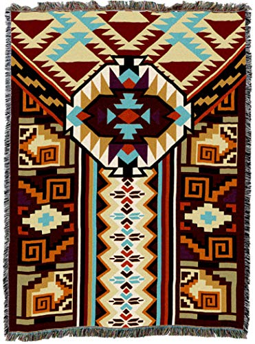 - Pure Country Weavers | Peruvian Southwest Blanket | Woven Throw with Fringe Cotton USA 72x54