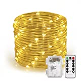 Outdoor String Lights, Greempire 46ft 120 Led String Lights Outdoor, Rope String Lights, Waterproof Battery Powered Starry Fairy String Lights Indoor with 8 Lighting Modes Remote Control