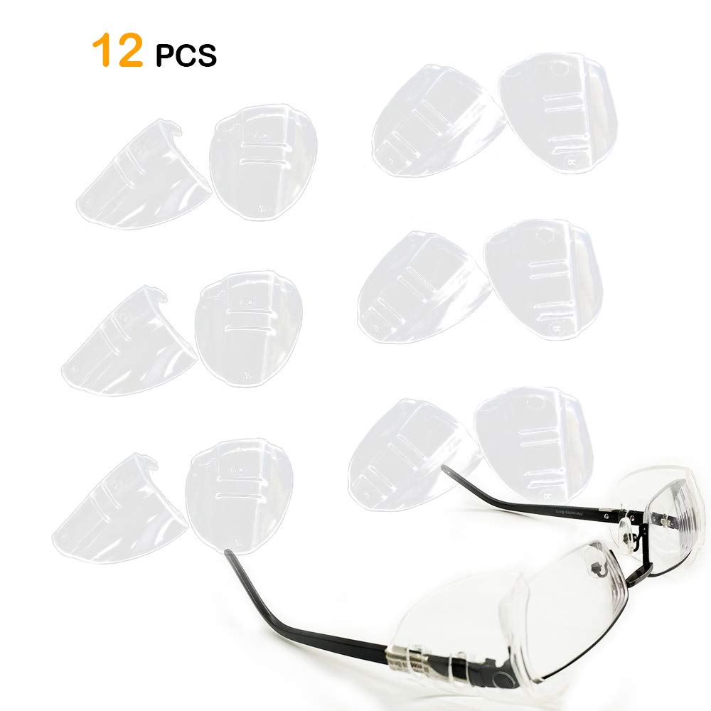 6 Pairs Eye Glasses Side Shields,Slip on Side Shields for Safety Glasses Fits Medium to Large Flexible Clear Universal by Korty