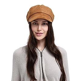 Jimall Ladies Winter Warm Faux Suede 8 Panel Baker Boy Cap Peaked Beret Hat Yellow