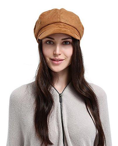 La Vogue Newsboy Cabbie Beret Cap for Women Beret Visor Bill Hat Yellow ()