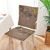 Mikihome Premium Chair Cushion Steampunk Whale Flying on Air with Moons and Stars Artistic Hand Drawing Brown 2 Piece Set Comfort Memory cushionsd Mat:W17 x H17/Backrest:W17 x H36