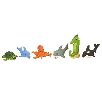 Wild Republic Sea Turtle, Dolphin, Octopus, Shark, Sea Horse, orca, Junior Jungle Aquatic Playset, 6 pc Set: Toys & Games