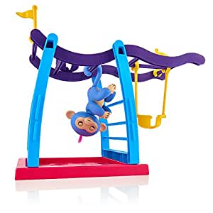 Fingerlings Playset - Monkey Bar Playground + Liv the Baby Monkey (Blue with Pink Hair) By WowWee