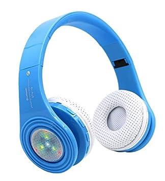 Sysmarts - Auriculares inalámbricos Bluetooth con micrófono, luz LED, Cómodos, para Viajes,