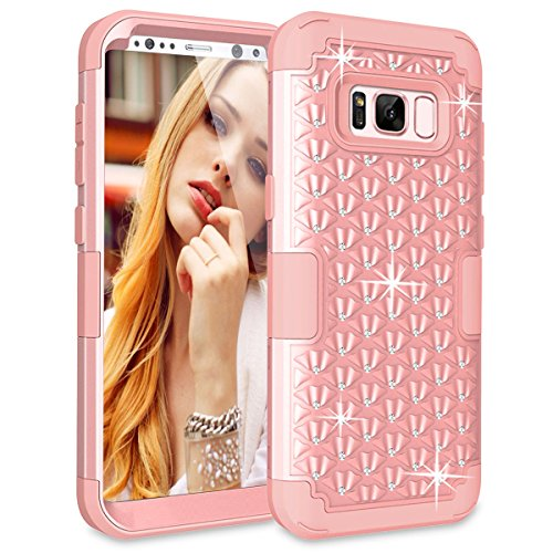 Galaxy S8 Plus Case, LONTECT Hybrid Heavy Duty Shockproof Diamond Studded Bling Rhinestone Case with Dual Layer [Hard PC+ Soft Silicone] Impact Protection for Samsung Galaxy S8 Plus - Rose (Rhinestone Bling Hard Case)