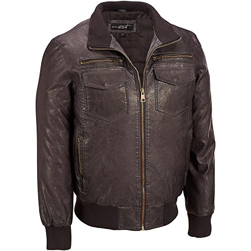 Black Rivet Mens Big & Tall Stand Collar Faux-Leather Bomber Jacket 3X Brown