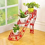 LIZX Iron Art Flower Frame Multi-storey Flower Pots Rack Indoor And Outdoor High Heels Creative Flower Rack (4 Colors) ( Color : Red )