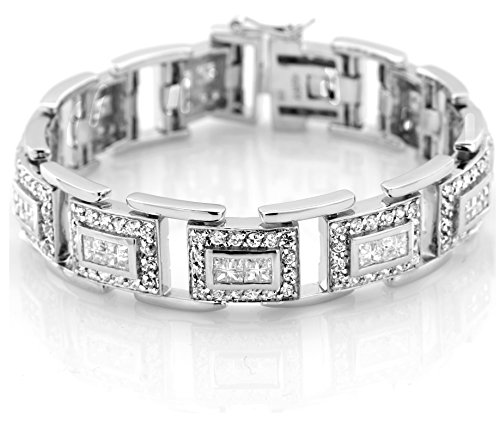 Princess Prong Set - Men's Sterling Silver .925 Bracelet with 312 Channel Set Fancy Princess and Prong Set Elegant Round Cubic Zirconia (CZ) Stones, Box Lock, Platinum Plated. Sizes available 8