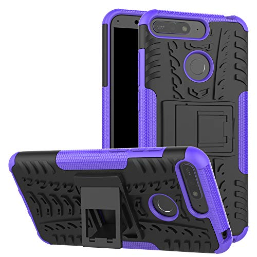 Huawei Honor 7A / Huawei Y6 2018 Case + Tempered Glass Screen Guard, 2in1 TPU/PC Combo [Dual Layer] [Integrated Kickstand] Rugged Heavy Duty Hybrid Armor Shockproof Durable Defender Cover (Purple)