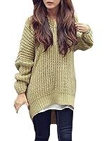 Lady 3/4 Batwing Sleeve Irregular Hem Hoodie Casual Knit Sweater