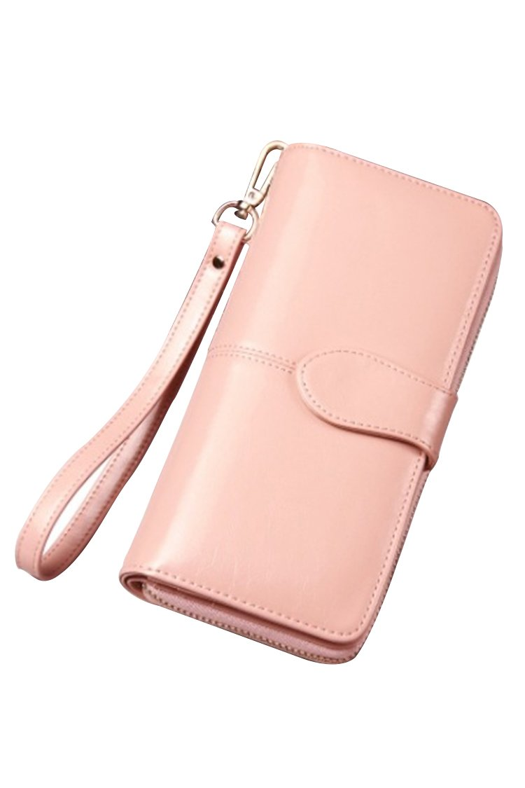 Women's Blocking Leather Wallet Large Capacity Wristlet Handbag Clutch Pink