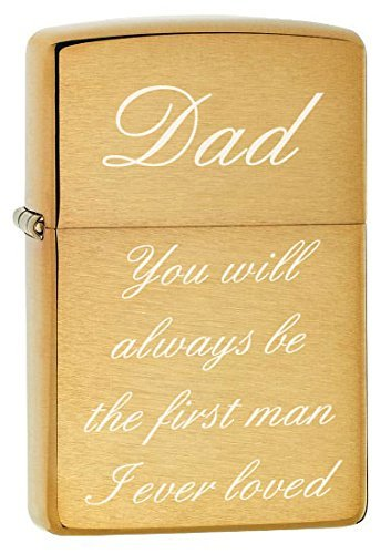 Gifts Infinity® Zippo Lighter - Golden Dad You will always be the first man I ever loved Dad You Will Always Be the First Man I Ever Loved- Star (Brush Gold)