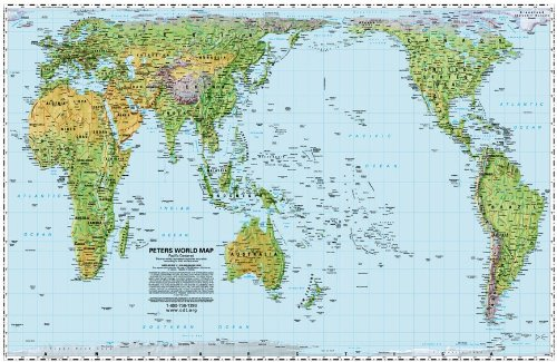 Pacific-centered Peters Equal Area Map - laminated