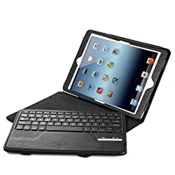 iPad Air / Air 2 Keyboard + Leather Cover, Poweradd Bluetooth iPad Keyboard Cover w/ Removable Wireless Keyboard, Built-in Multi-angle Stand for Apple iPad Air 1/2, iPad 5/6 [Apple iOS 10+ Support]