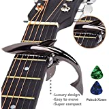 Imelod Zinc Alloy Guitar Capo Shark Capo for Acoustic and Electric Guitar with Good Hand Feeling, No Fret Buzz and Durable (Black)