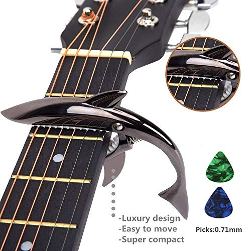 Imelod Zinc Alloy Guitar Capo Shark Capo for Acoustic and Electric Guitar with Good Hand Feeling, No Fret Buzz and Durable (Black) (Killer Shark Strap)