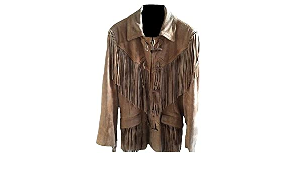 Coolhides Mens Western Cowboy Leather Jacket with Fringes at Amazon Mens Clothing store: