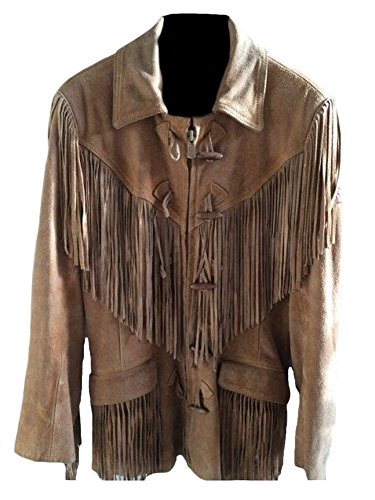 Classyak Men's Western Suede Real Leather Jacket Fringed Suede Brown Large