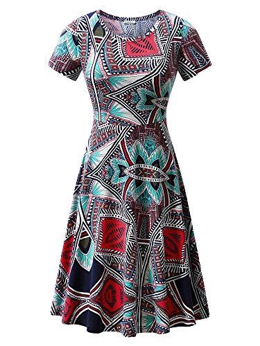 - HUHOT Women Summer Casual Ethnic Boho African Print Midi Dress 18028-39 S