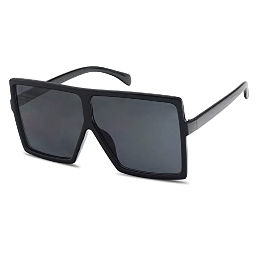 445e4f628 Amazon.com: Extra Large Oversized Slim Square Flat Top Shield Mod Sunglasses  Designer Shades (Black Frame | Black): Clothing