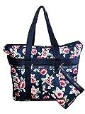 LeSportsac Navy Rose Travel Tote + Matching Cosmetic Bag