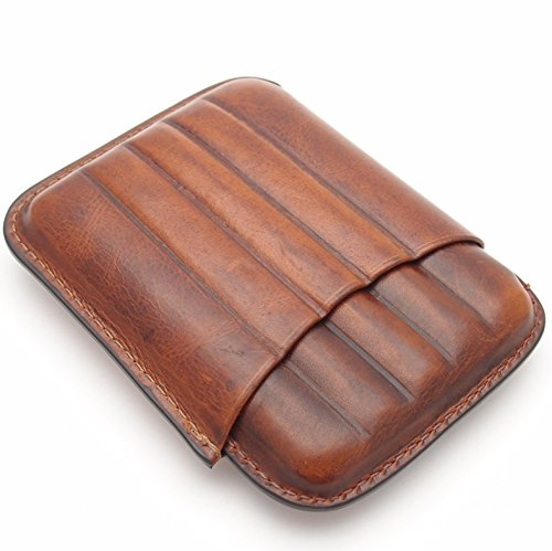 Leather Cigar Case - Two Tone Aniline Leather - (Tan Aniline Leather)