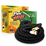 """FlexiHose Upgraded Expandable 50 FT Garden Hose Extra Strength 3/4"""" Solid Brass Fittings"""