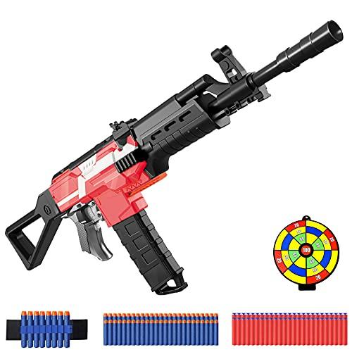 Pistolet Électrique Enfant pour Flechettes Nerf, DIY Fusil Automatique Enfant avec 100 Flechettes en Mousse, Pistolet Jouet 3 Modèles 3 Vitesses, Cadeau de Noël Anniversaire pour Garçon Adulte