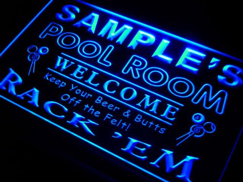 py1107-b Woods Pool Room Rack 'em Welcome Bar Beer Neon Light Sign