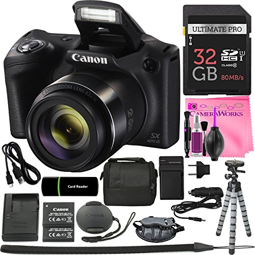 Canon PowerShot SX420 IS Digital Camera (Black) w/20MP, 42x Optical Zoom, 720p HD Video & Wi-Fi + 32GB Card + Reader + Grip + Spare Battery/Charger + Tripod + Complete Camera Works Accessory Bundle from Camera Works