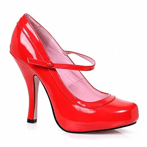 Ellie 423-babydoll Para Mujer Cómoda Cómoda 4 Patente Mary Jane Con 1 Plataforma Oculta Roja