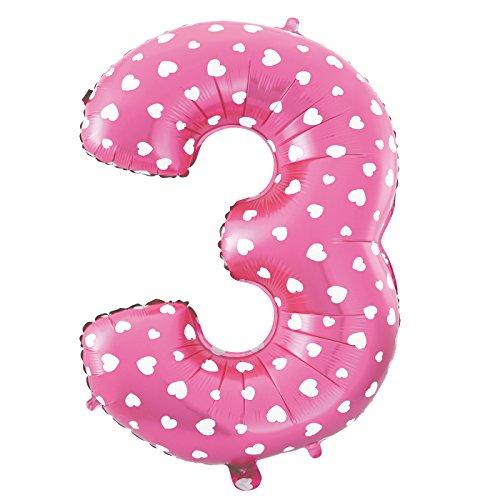 Ballon Géant numéro 3 Blanc coeur 70CM Pour Anniversaire et Anniversaire Couleur rose