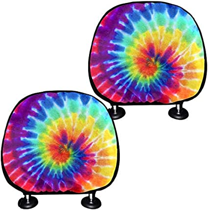 FKELYI Auto Universal Accessories for Car Bucket Seat Headrest Covers Set of 2Pieces Rainbow Tie-Dye Design Head Rest Cover