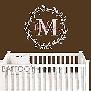 BATTOO Monogram Name Decal - Nursery Wall Decals Sticker - Wall Decal for Girls - Monogram Wreaths - Name Decal - Initial Wall Decal Flower Damask Vinyl Wall Art 1
