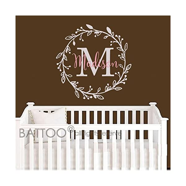 BATTOO-Monogram-Name-Decal-Nursery-Wall-Decals-Sticker-Wall-Decal-for-Girls-Monogram-Wreaths-Name-Decal-Initial-Wall-Decal-Flower-Damask-Vinyl-Wall-Art