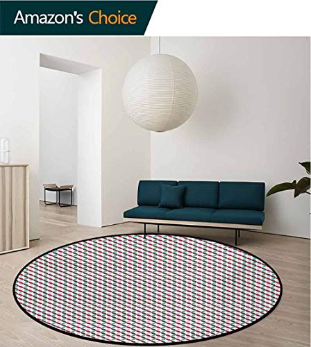 - RUGSMAT Retro Round Rug,Contigous and Colorful Flower Petals On The Bias Pattern with White Backdrop Print Carpet Door Pad for Bedroom/Living Room/Balcony/Kitchen Mat,Diameter-31 Inch