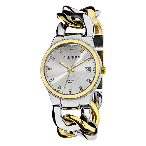Akribos XXIV Women's Impeccable Diamond Watch - 23 Genuine Diamond Hour Markers Swiss Quartz Watch On a Twist Chain Bracelet - AK608