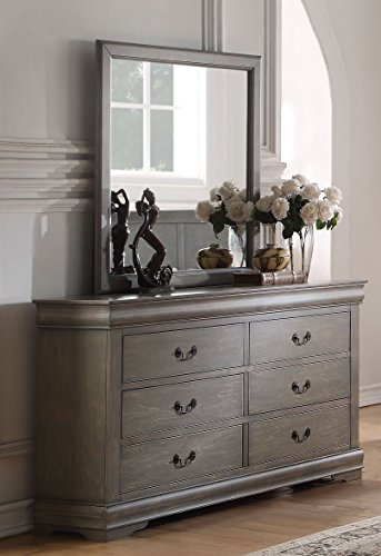 Major-Q 9023864 + 9023865 Antique Gray Finish Mirror and 6-Drawer ()