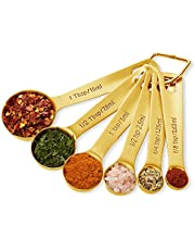 Gold Measuring Spoons Set of 6 Stainless Steel Kitchen Measuring Small Spoon with Engraved Metric(ML), US Measure(Teaspoon & Tablespoon) by Homestia