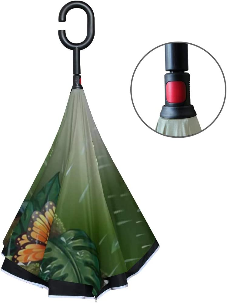 Double Layer Inverted Inverted Umbrella Is Light And Sturdy Deep Forest Scene Butterflies Flying Rain Reverse Umbrella And Windproof Umbrella Edge Ni