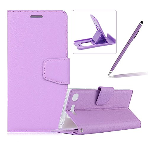Price comparison product image Purple Wallet Case for Xperia XZ1,PU Leather Flip Cover for Xperia XZ1,Herzzer Noble Luxury Premium Magnetic Card Holder Folding Stand Leather Protective Case with Soft Inner TPU