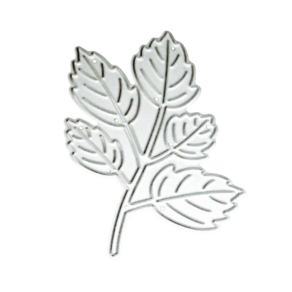 TOYMYTOY, stencil da taglio, per album fai da te e carta decorativa, con motivo di ramo con 5 foglie